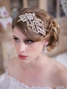 Bridal Headpiece Crystal Rose Gold Headpiece Silver