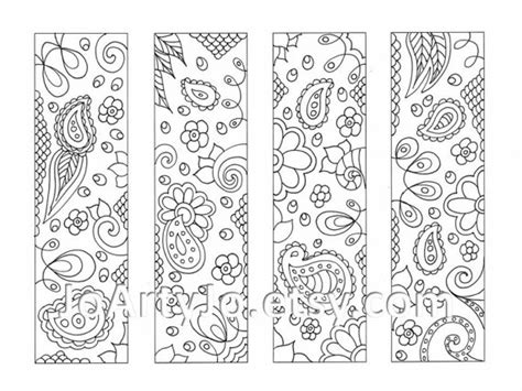 downloadable bookmarks to color paisley printable coloring