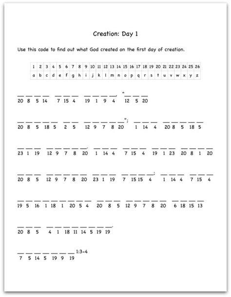 Creation Day 1 Bible Verse Decoding Worksheet  Sunday School Stuff  Pinterest Decoding