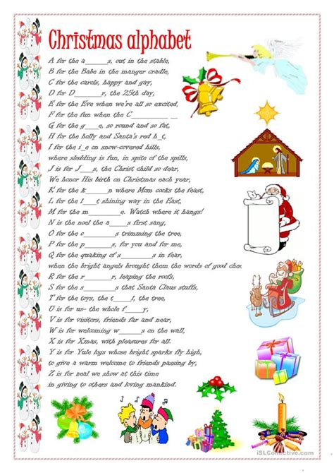 christmas alphabet worksheet  esl printable