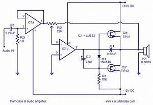 15w Class B Audio Amplifier Circuit Diagram World