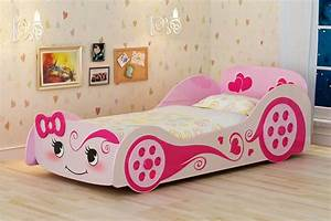 Cute Pink Childrens Car Bed With Mattress For Girls With