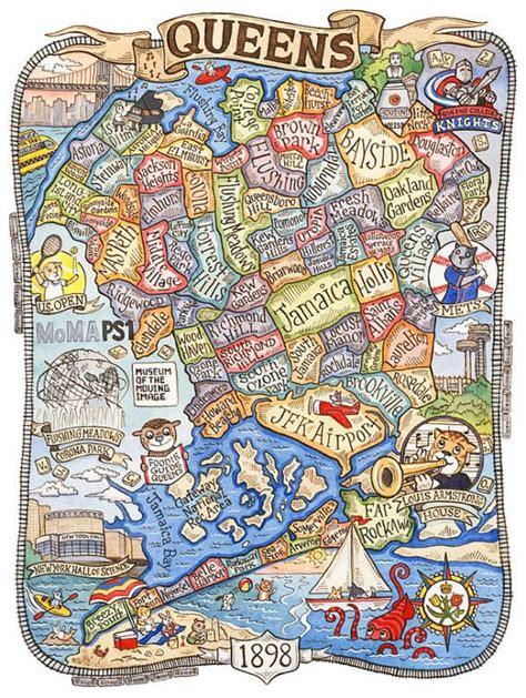 cartoonish map  queens  represents local