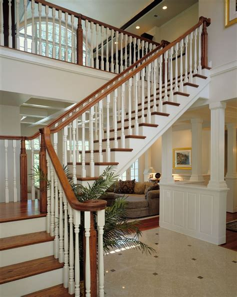 natural wood stair white painted risers  spindles