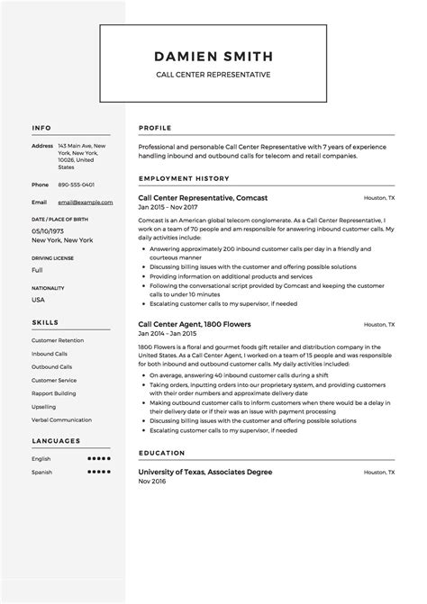 call center representative resume samples   downloads