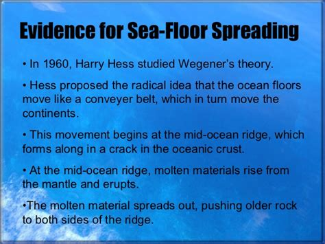 evidence for seafloor spreading comes from sea floor spreading