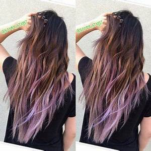 Balayage ombre of ash brown with lilac tips hair by sammi for Hair color letters