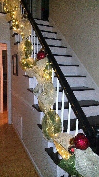 lighted deco mesh garland   banister  style