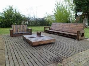 salon de jardin en palette de bois bricobistro With meuble jardin palette