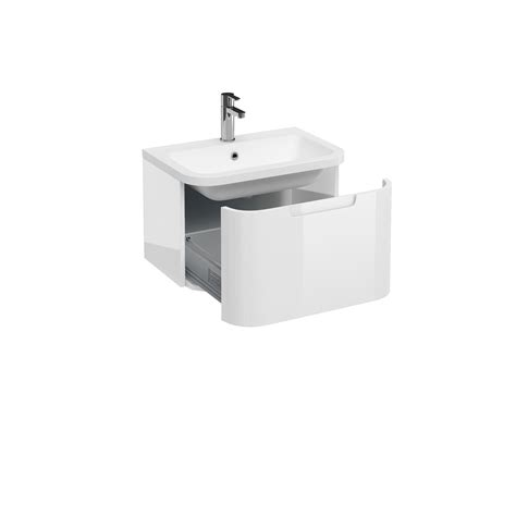 Single Basin Vanity by Aqua Compact 600 Single Drawer Wall Hung Vanity Unit With