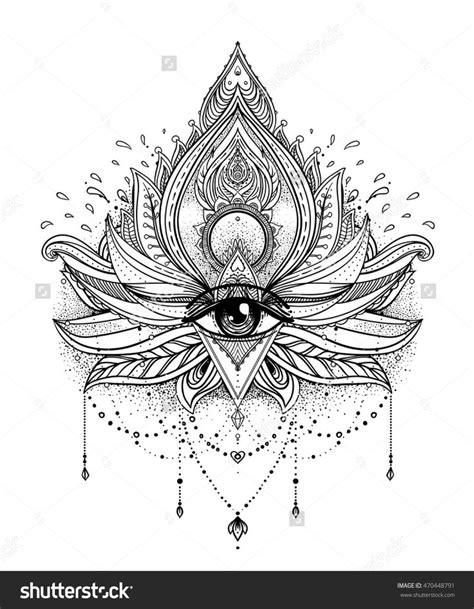 Vector ornamental Lotus flower, all-seeing eye, patterned Indian paisley. Hand drawn