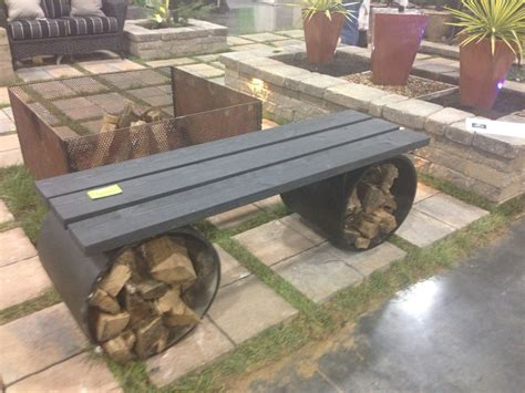 bench  fire pit  wood storage firewood