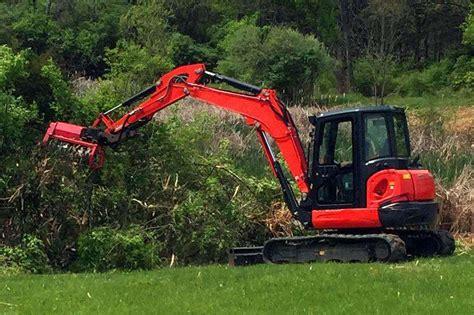 mulching head excavator heavy equipment