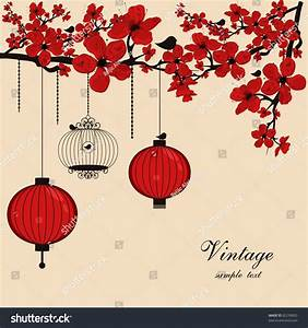 Floral Background Chinese Lanterns Birdcage Stock Vector ...