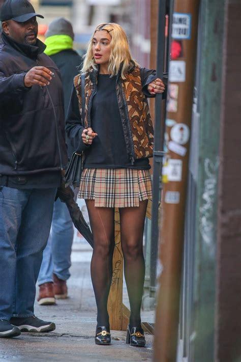 dua lipa   plaid mini skirt      york