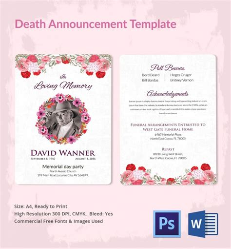 funeral announcement template announcement 5 word psd format free premium templates