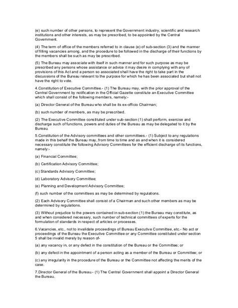 bureau standard the bureau of indian standard act 1986