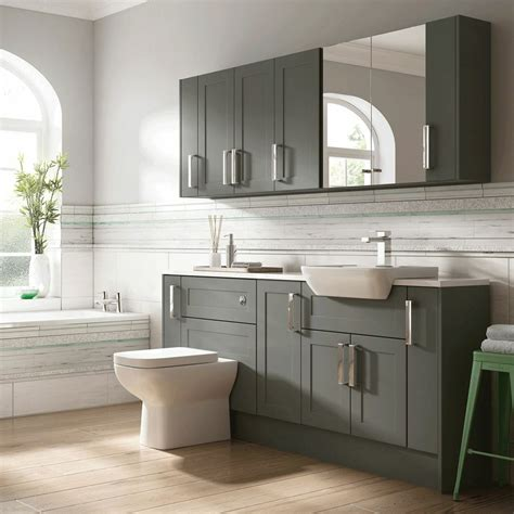 Fitted Bathroom Cupboards by Moores Bathroom Fitted Furniture Charcoal Grey Shaker Ebay