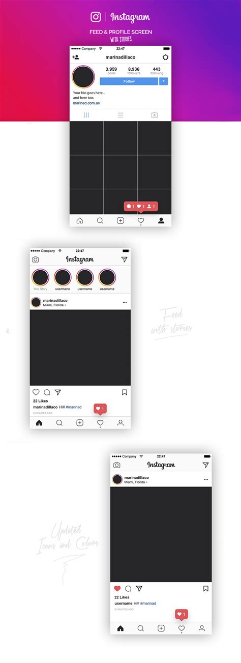 Instagram Profile Template Instagram Feed Profile Layout Ui Vector Template