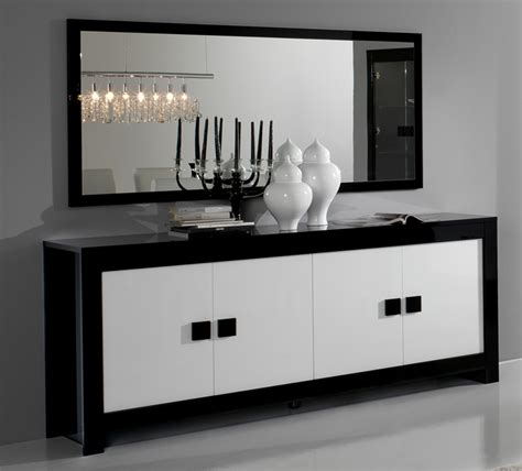 modele chambre garcon bahut 4 portes pisa laquée bicolore noir blanc noir blanc