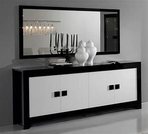 Bahut 4 portes pisa laquee bicolore noir blanc noir blanc for Meuble salle À manger avec buffet salle a manger noir et blanc