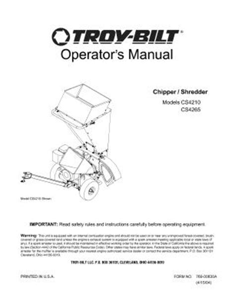 Mtd 10 Hp Wiring Diagram by 24a424g766 Troy Bilt 10 Hp Chipper Shredder Owners Manual