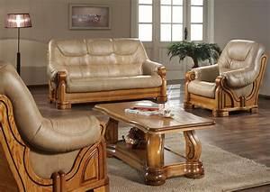 Canape cuir et bois massif canape idees de decoration for Canapé cuir et bois massif