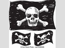 EPS Vectors of Pirate flag sketch Doodle style jolly