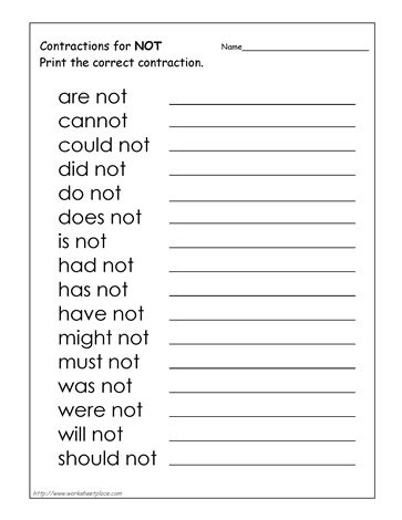 the not not will not etc worksheets