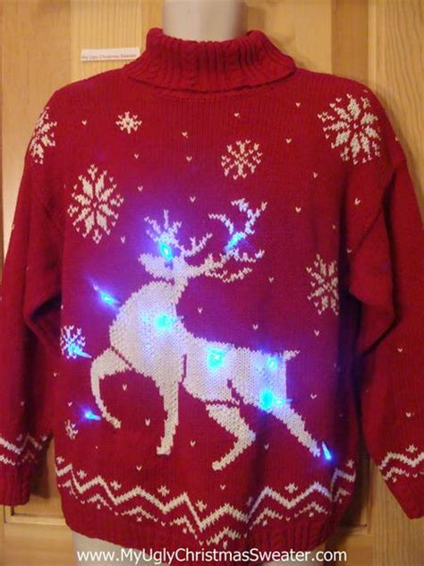 ugly light up christmas sweaters reindeer vintage 80s light up christmas sweater