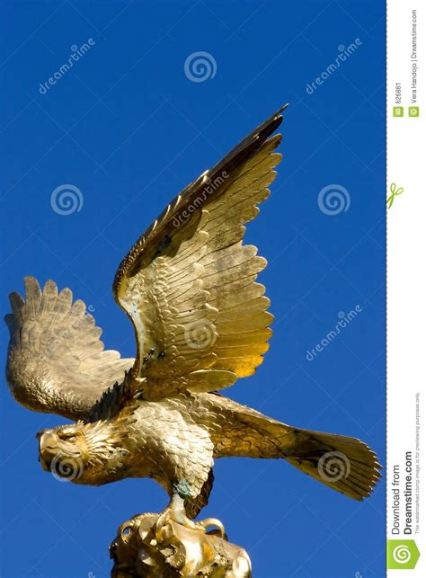 golden eagle statue stock image image  blue pride