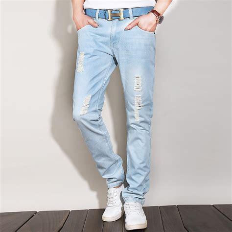 light jeans mens light blue ripped jeans for men ye jean