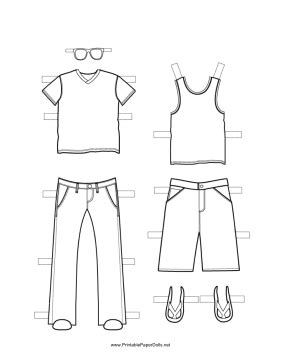 printable boy paper doll outfits  great