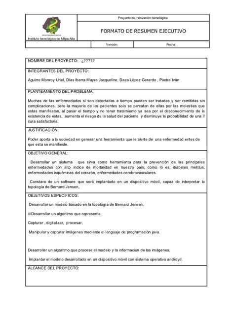 19027078 formato de resumen ejecutivo para presentacion de