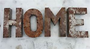 14 inch rusted metal letters spelling home crafted for Rusty metal letters