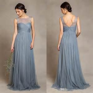 bridesmaid dresses dusty dusty blue bridesmaid dresses 2015 illusion bateau neckline pleats bodice a line floor