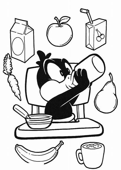 Coloring Breakfast Pages Duck Daffy Eating Healthy