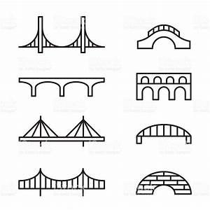 Set Of Simple Bridge Line Icons
