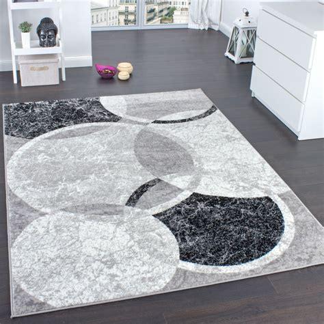 designerteppich kreis muster grau teppichde