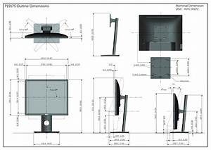 Dell P1917s Monitor Outline Drawing User Manual Reference