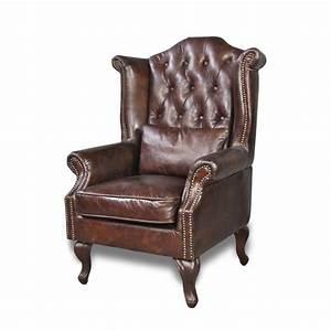 Fauteuil Cuir Marron Vintage : fauteuil cuir patin marron vintage capitonn oreilles et clous ~ Teatrodelosmanantiales.com Idées de Décoration