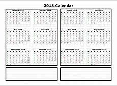 Excel 2018 Calendar Template
