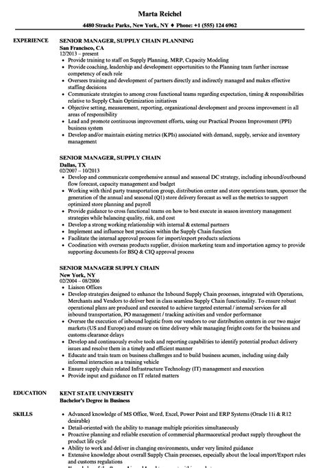 Supply Chain Manager Resume by Senior Manager Supply Chain Resume Sles Velvet