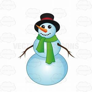Smiling Snowman With A Green Scarf Cartoon Clipart ...