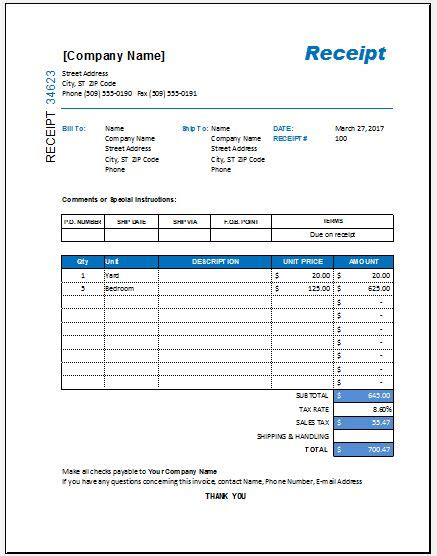 Itemized Receipt Template Free