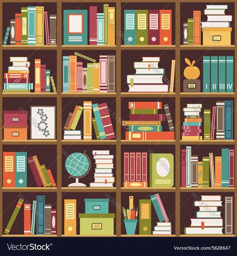 And Bookshelf by Bookshelf With Books Seamless Background Vector Image