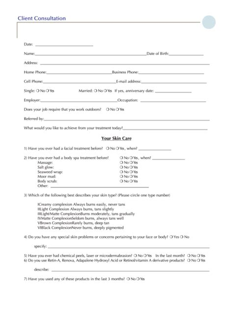 client consultation form printable