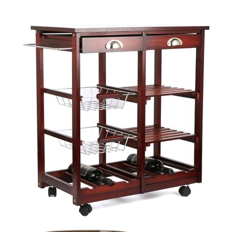 wooden kitchen storage trolley beautiful rolling cherry wood kitchen trolley basket 1647