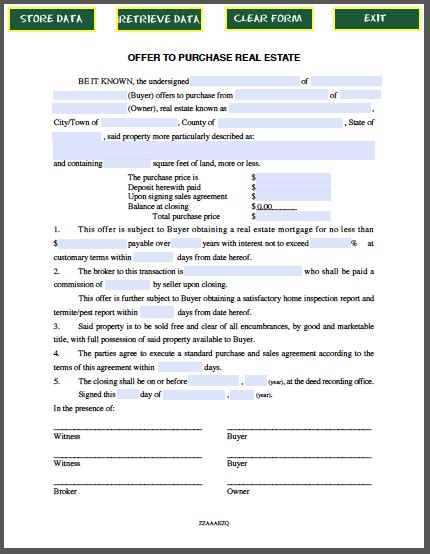real estate purchase offer form purchase form resume