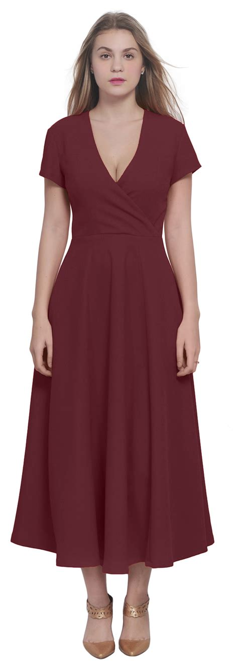 WOMENS CELEB CLASSIC CLASSY VINTAGE RETRO WRAP DRESS OFFICE PARTY MIDI DRESSES | eBay